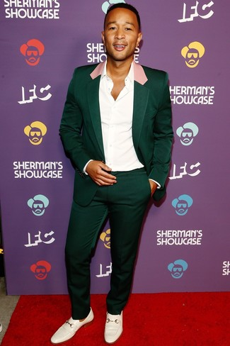 How to wear: dark green suit, white dress shirt, white leather loafers