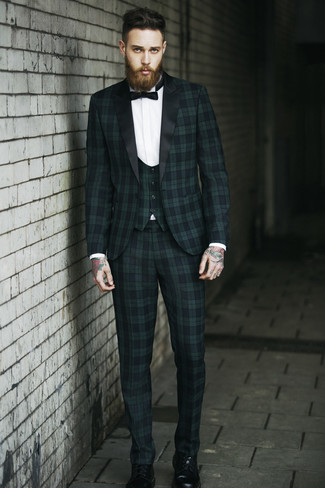 How to wear: dark green plaid three piece suit, white dress shirt, black leather casual boots, black bow-tie