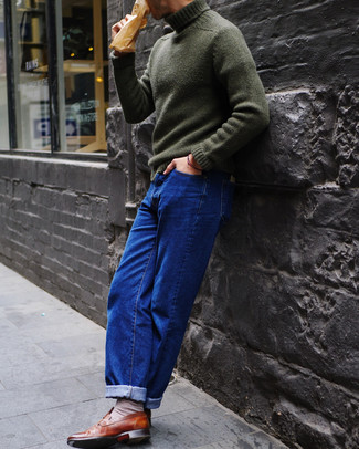 How to wear: dark green knit turtleneck, blue jeans, brown leather loafers, beige socks