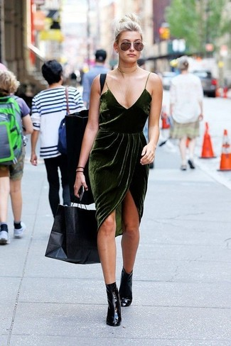 How to wear: dark green velvet cami dress, black leather ankle boots, gold choker