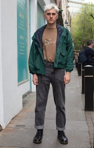 Charcoal Jeans Outfits For Men: A dark green windbreaker and charcoal jeans worn together are the ideal getup for those who prefer casually stylish styles. With footwear, go for something on the smarter end of the spectrum and complete this outfit with black leather casual boots.