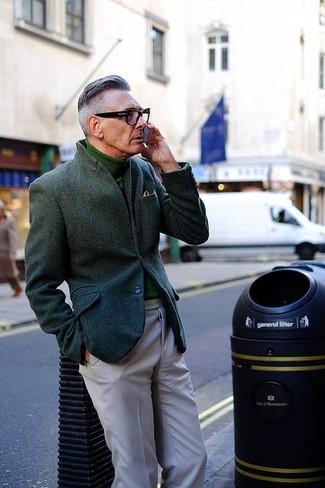 Men's Dark Green Wool Blazer, Green Turtleneck, Grey Chinos