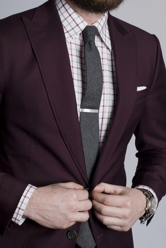 Men's Dark Purple Blazer- White and Red Check Dress Shirt ...