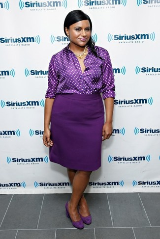 How to wear: dark purple polka dot button down blouse, dark purple pencil skirt, dark purple suede pumps, gold necklace