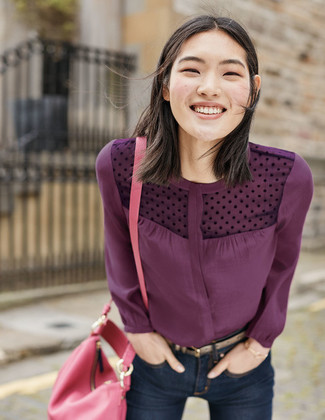 A dark purple button down blouse looks especially elegant when paired with a women's Buxton Flap Convertible Crossbody Bag. We're loving that this outfit is ideal when spring arrives.