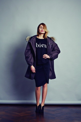 How to wear: dark purple parka, black and white print crew-neck sweater, black pencil skirt, black suede ankle boots
