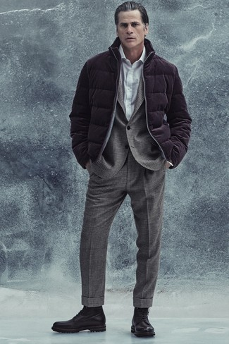1200+ Outfits For Men After 40: One of the smartest ways to style out such a must-have piece as a dark purple puffer jacket is to wear it with a grey plaid wool suit. And if you want to instantly dress down this look with footwear, why not introduce black leather casual boots to the mix? After style tips for middle-aged guys? This getup is pretty inspiring.