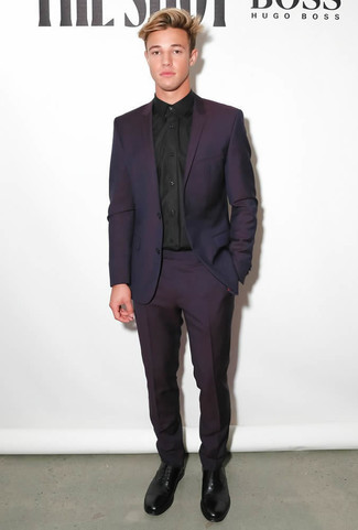 Purple and black dress shoes for men