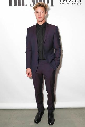 Mens Dark Purple Suit Black Dress Shirt Black Leather Oxford