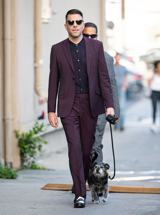 How to Wear a Dark Purple Dress Shirt For Men: Wear a dark purple dress shirt with a dark purple suit and you're bound to make heads turn. For a trendy mix, introduce a pair of black and white leather loafers to this look.