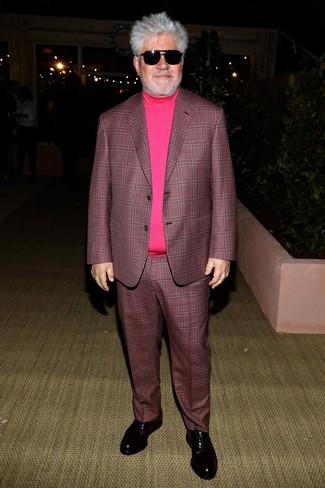 How to wear: dark purple plaid suit, hot pink turtleneck, black leather oxford shoes, black sunglasses