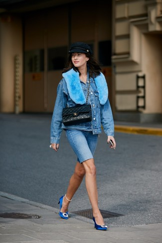 How to Wear a Flat Cap For Women: A blue denim jacket and a flat cap are indispensable must-haves if you're crafting a casual wardrobe that holds to the highest sartorial standards. Why not complement your getup with blue embellished satin pumps for an element of sophistication?