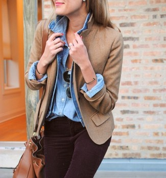How to wear: light blue denim jacket, tan wool blazer, light blue denim shirt, dark purple corduroy skinny jeans