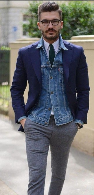 How to wear: blue denim jacket, navy blazer, white dress shirt, grey wool dress pants