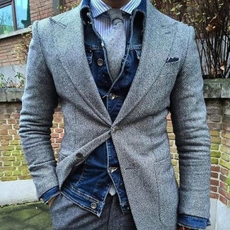 How to wear: navy denim jacket, grey wool blazer, white and blue vertical striped dress shirt, grey wool dress pants