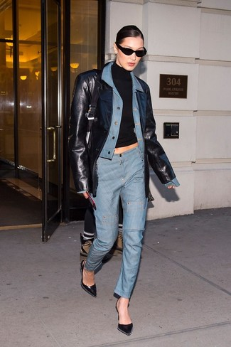 How to wear: light blue denim jacket, black leather blazer, black turtleneck, light blue jeans