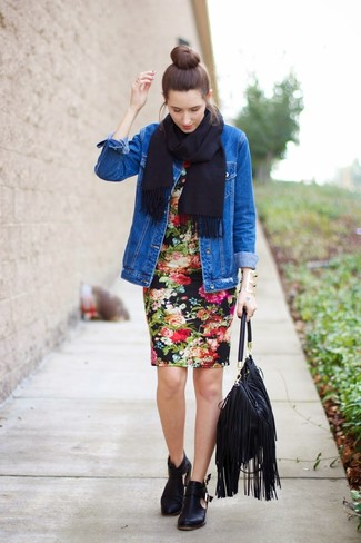 How to wear: blue denim jacket, black floral bodycon dress, black cutout leather ankle boots, black fringe leather tote bag