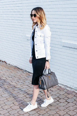 How to wear: white denim jacket, black bodycon dress, white canvas low top sneakers, charcoal leather satchel bag