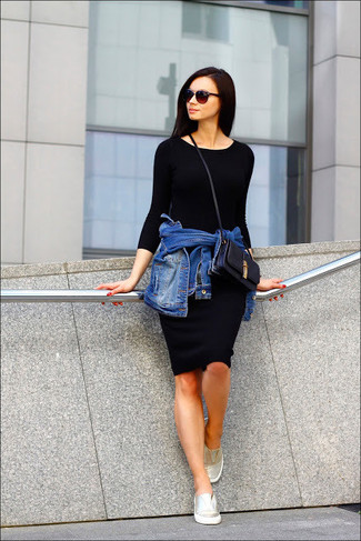 How to wear: blue denim jacket, black bodycon dress, gold slip-on sneakers, black leather crossbody bag