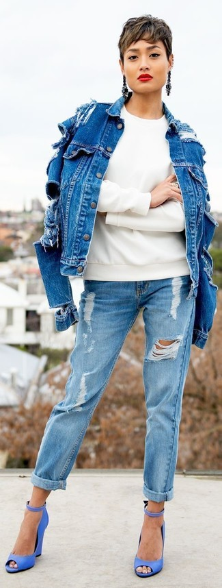 Pair a blue jean jacket with light blue distressed boyfriend jeans for a trendy and easy going look. Bring a touch of sophistication to your look with blue leather heeled sandals. So as you can see, it's a on-trend, not to mention season-appropriate, ensemble to keep in your seasonal wardrobe.