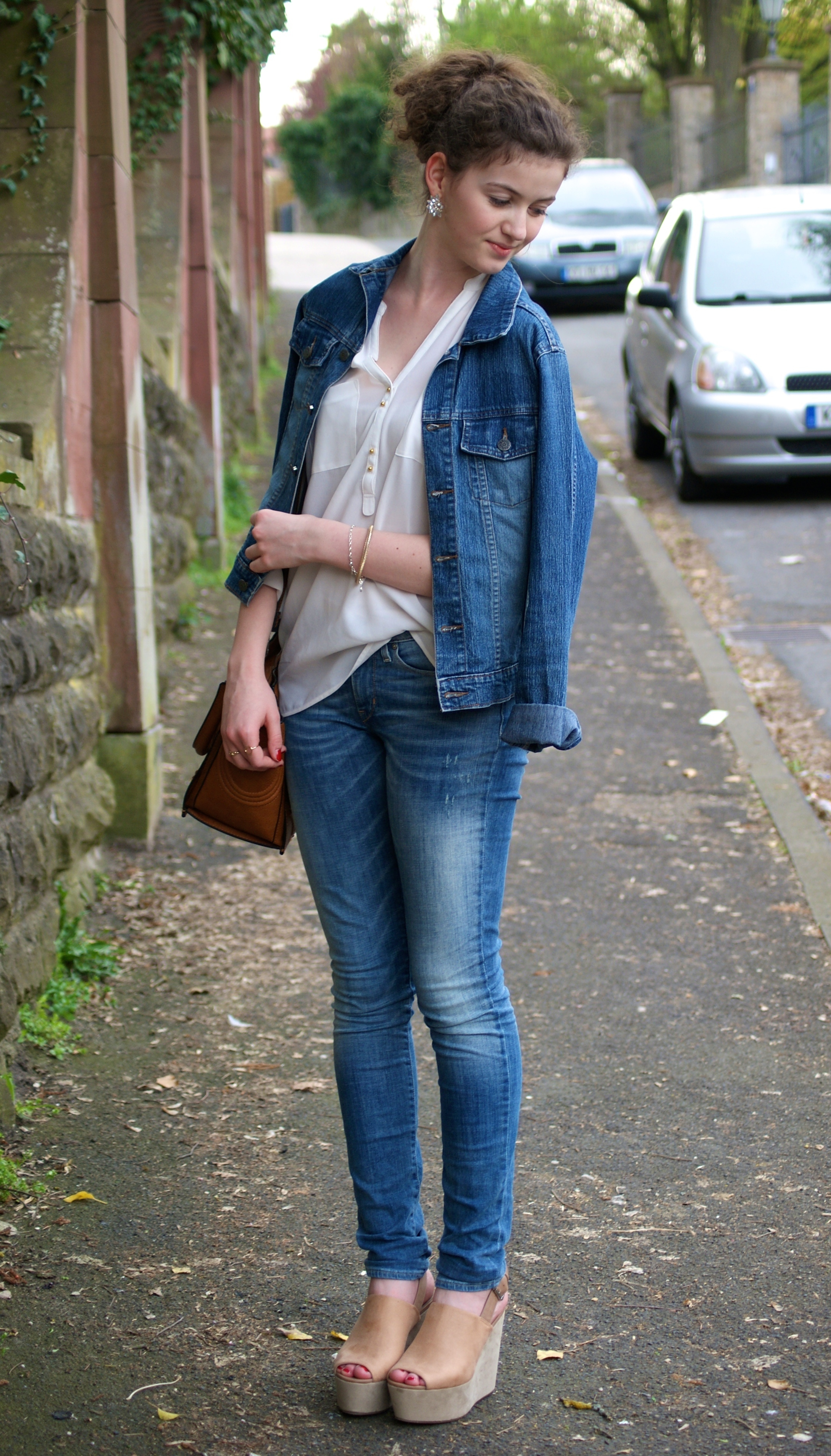 Women's Blue Denim Jacket, White Button Down Blouse, Blue Jeans, Tan  Leather Wedge Sandals | Women's Fashion