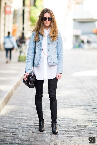 Women's Light Blue Denim Jacket, White Button Down Blouse, Black ...