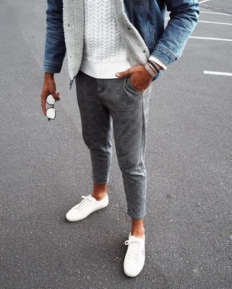 How to wear: blue denim jacket, white cable sweater, grey check wool chinos, white canvas low top sneakers