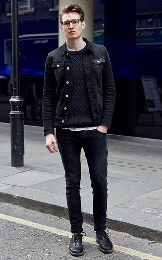 How to Wear a Cable Sweater For Men: Super stylish, this off-duty combination of a cable sweater and black jeans provides with variety. Want to go all out with footwear? Add a pair of black leather brogues to the mix.