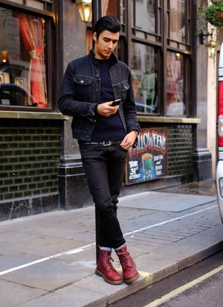 How to wear: navy denim jacket, navy cable sweater, black jeans, burgundy leather casual boots