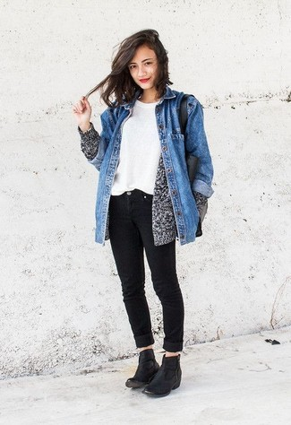 Rock a blue denim jacket with black jeans for both chic and easy,to,