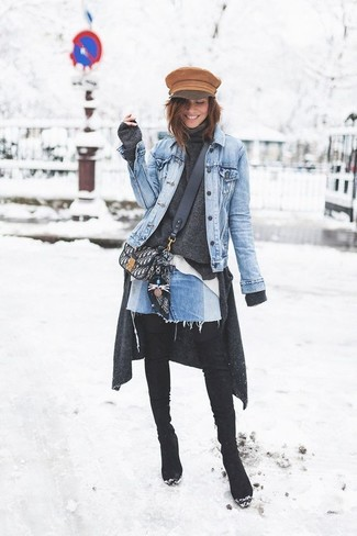 Consider teaming a Rachel Roy Rachel Destructed Denim Jacket with a light blue denim mini skirt for a lazy day look. Dress up this outfit with black suede over the knee boots. Seeing as the weather is getting chillier with each day, this ensemble is a wise option for the season.