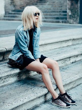 How to wear: blue denim jacket, black casual dress, black sequin low top sneakers, black studded leather crossbody bag