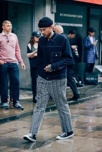 Grey Plaid Chinos Outfits: The combo of a navy denim jacket and grey plaid chinos makes this a solid casual outfit. To infuse a dash of stylish effortlessness into this ensemble, complement your ensemble with a pair of navy and white canvas high top sneakers.