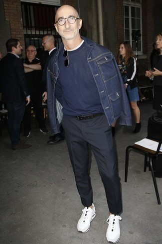 How To Wear Athletic Shoes With Dress Pants For Men: Putting together a navy denim jacket with dress pants is a savvy pick for a classic and sophisticated look. A pair of athletic shoes instantly ups the appeal of your ensemble.