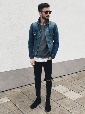 How to Wear Black Ripped Skinny Jeans For Men: A blue denim jacket and black ripped skinny jeans paired together are a great match. Hesitant about how to complete your look? Finish off with a pair of black suede casual boots to amp it up.