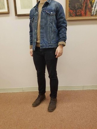 how to wear black jeans with dark brown leather boots for