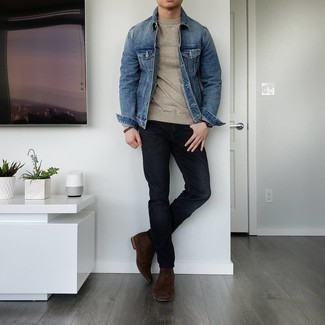 Beige Crew-neck Sweater Outfits For Men: This off-duty combination of a beige crew-neck sweater and black jeans is perfect when you need to look cool in a flash. Transform your outfit with dark brown suede chelsea boots.