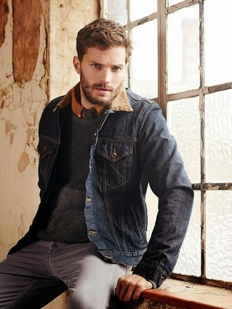 Jamie Dornan wearing Navy Denim Jacket, Charcoal Crew-neck Sweater, Tobacco Long Sleeve Shirt, Grey Jeans