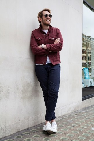 How to Wear Navy Chinos: The styling capabilities of a burgundy denim jacket and navy chinos mean they'll stay on heavy rotation. Avoid looking too formal by rounding off with white low top sneakers.