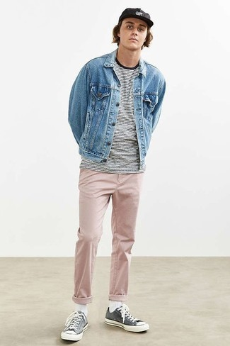 Men's Looks & Outfits: What To Wear In 2020: For an on-trend look without the need to sacrifice on comfort, we turn to this combination of a light blue denim jacket and pink chinos. Get a little creative on the shoe front and play down your ensemble by slipping into charcoal canvas low top sneakers.