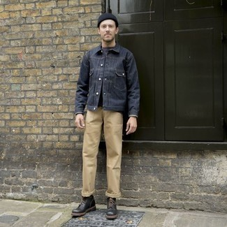 How to Wear Khaki Chinos: A navy denim jacket and khaki chinos are stylish menswear pieces, without which no closet would be complete. Complete your outfit with a pair of black leather casual boots to instantly switch up the getup.