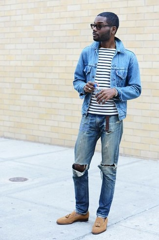 Which Denim Jacket To Wear With a White and Black Crew-neck T-shirt For Men: This pairing of a denim jacket and a white and black crew-neck t-shirt is clean, dapper and very easy to copy. A trendy pair of tan suede tassel loafers is the most effective way to bring an extra touch of sophistication to this ensemble.
