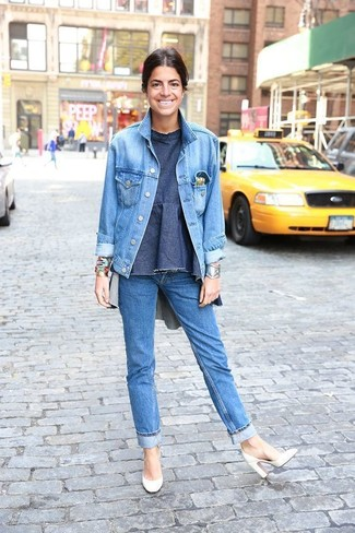 How to wear: light blue denim jacket, blue denim crew-neck t-shirt, blue jeans, white leather pumps
