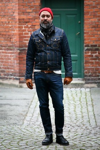 How to wear: navy denim jacket, white crew-neck t-shirt, navy jeans, black leather desert boots