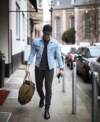 Charcoal Jeans Outfits For Men: The combo of a light blue denim jacket and charcoal jeans makes this a solid off-duty outfit. Puzzled as to how to finish off your getup? Wear a pair of black leather chelsea boots to bump it up.