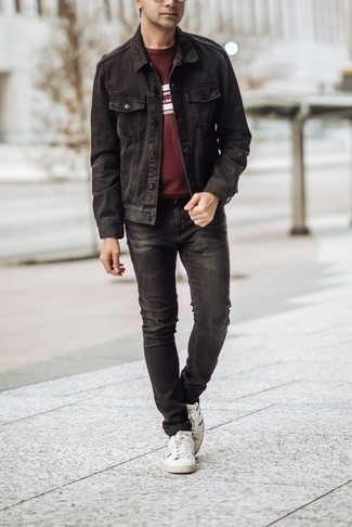 How to Wear Black Jeans In Warm Weather For Men: Show that you do casual like no-one else in a black denim jacket and black jeans. Complete this look with white and black canvas low top sneakers and ta-da: this getup is complete.