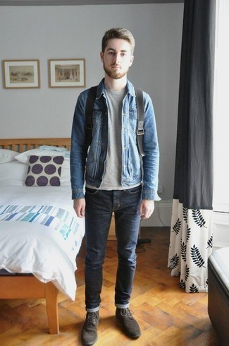 How to Wear a Light Blue Denim Jacket For Men: This combo of a light blue denim jacket and navy jeans is a safe bet for a devastatingly dapper outfit. Go off the beaten path and spice up your outfit with dark brown suede brogue boots.