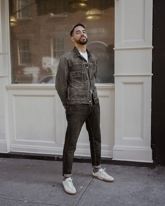 Charcoal Jeans Outfits For Men: Opt for a charcoal denim jacket and charcoal jeans for an effortless kind of refinement. We're loving how cohesive this outfit looks when finished off with a pair of white canvas low top sneakers.