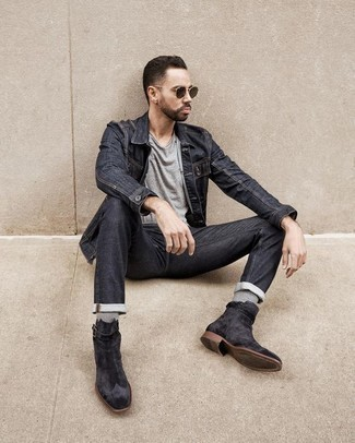 Charcoal Jeans Outfits For Men: A charcoal denim jacket and charcoal jeans are a cool combination to have in your current casual lineup. Rev up the dressiness of your ensemble a bit by rounding off with a pair of charcoal suede chelsea boots.