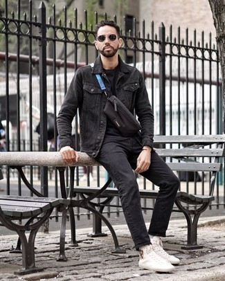 Men's Looks & Outfits: What To Wear Casually: If the setting permits relaxed style, pair a black denim jacket with black jeans. Take an otherwise standard outfit in a sportier direction by wearing white print canvas high top sneakers.